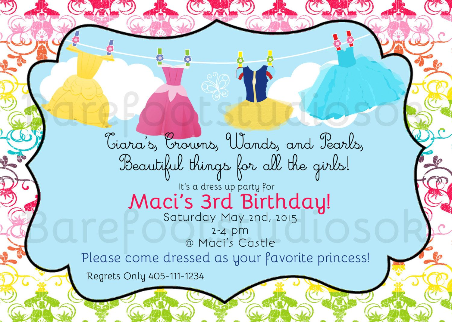 Princess Dress Up Birthday Party Printable/Digital Invitation 5x7 ...