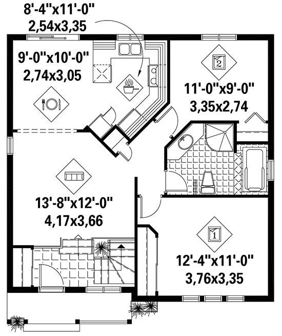House Plan 6146 00288 Small Plan 886 Square Feet 2 Bedrooms 1 Bathroom Small Bathroom Floor Plans Small House Design Plans House Plans