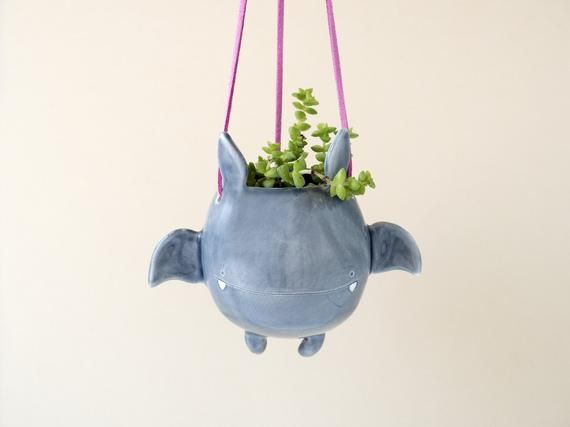 Little Italy Halloween 2020 Flying Bat Hanging Plant Holder. A Cute Bat Shaped Hanging Vase in