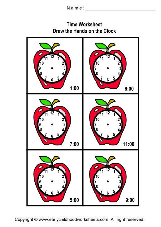 Drawing the Hands on the Clocks Worksheets - Worksheet #2 | baby ...