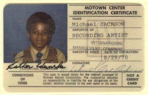 Michael Jacksons 1970 Motown Identification Card Lets