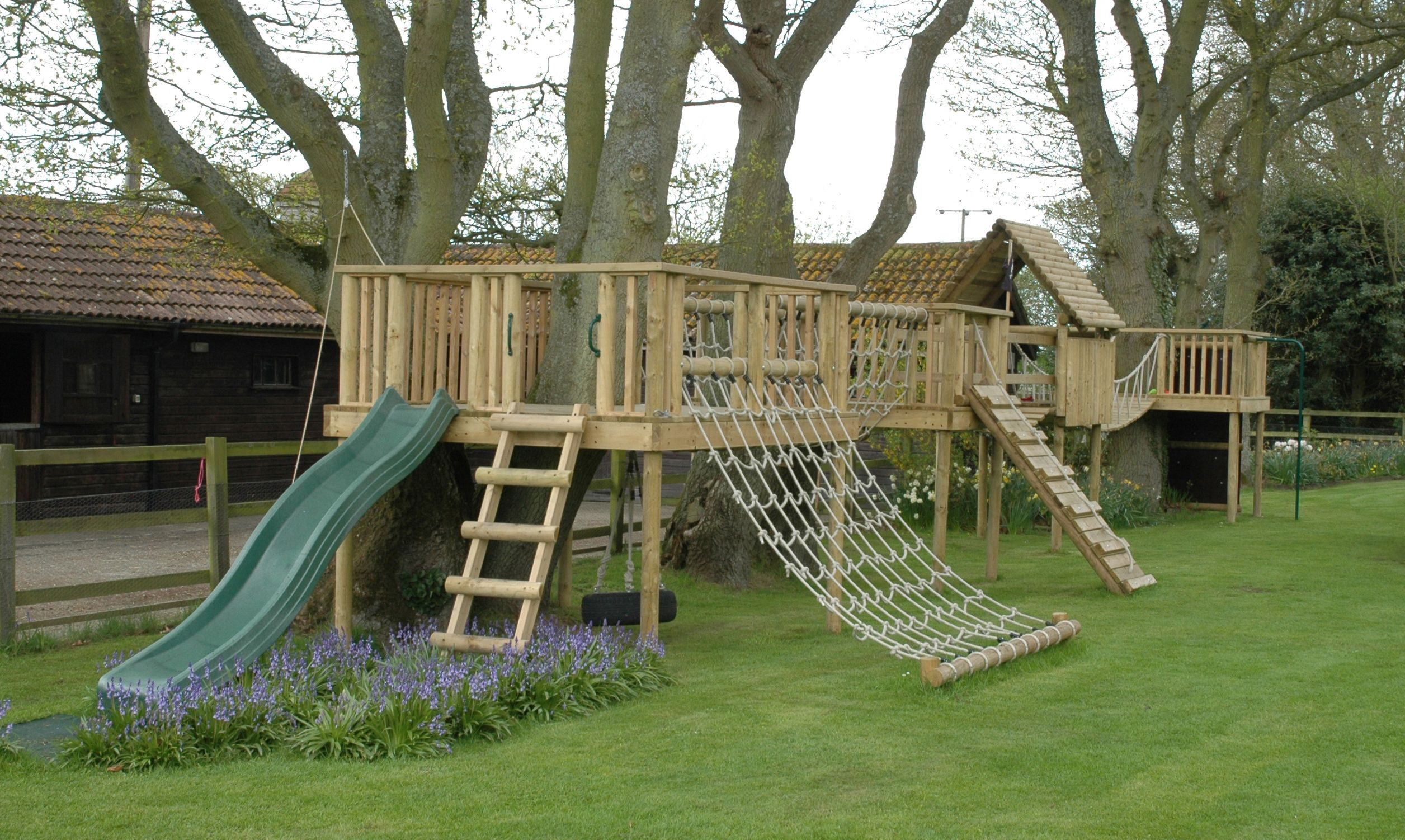 Diy Outdoor Fort With Slide Bespoke Designed Play Structure Built Round Trees