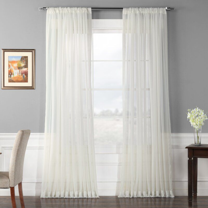 Banstead Extra Wide Voile Poly Sheer Single Curtain Panel Sheer Curtain Panels