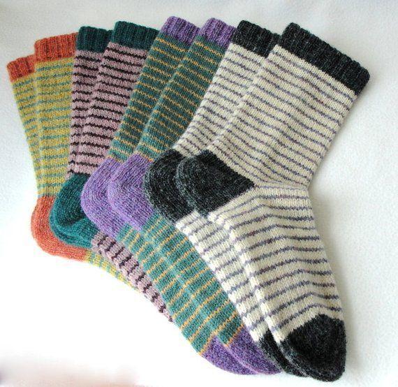 Photo of Knitting Pattern / Bywater Adult / Teen Socks / Knit Sock Pattern / Striped …