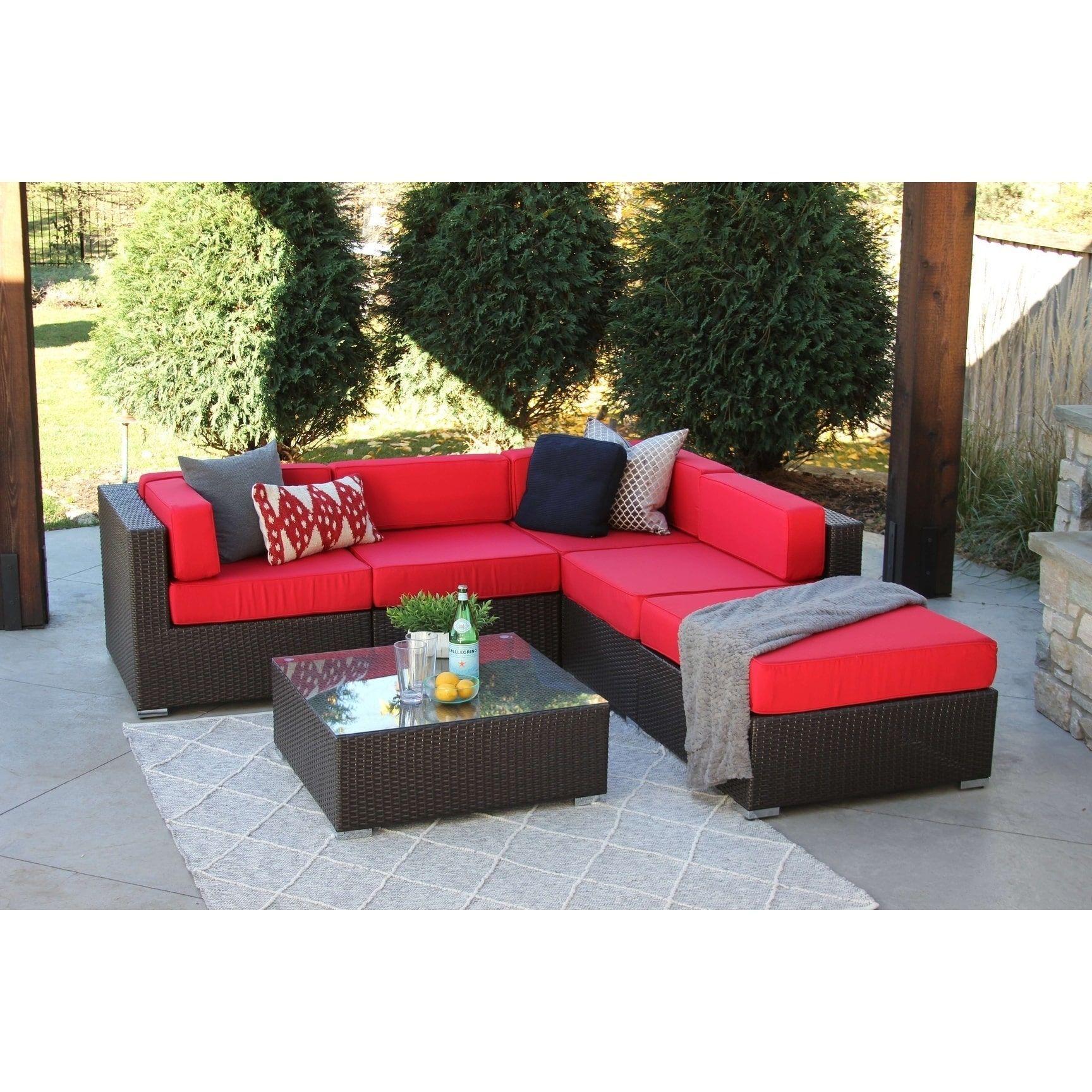 Nicolett Rattan Wicker 6-piece Modern Outdoor Patio Furniture Sofa ...