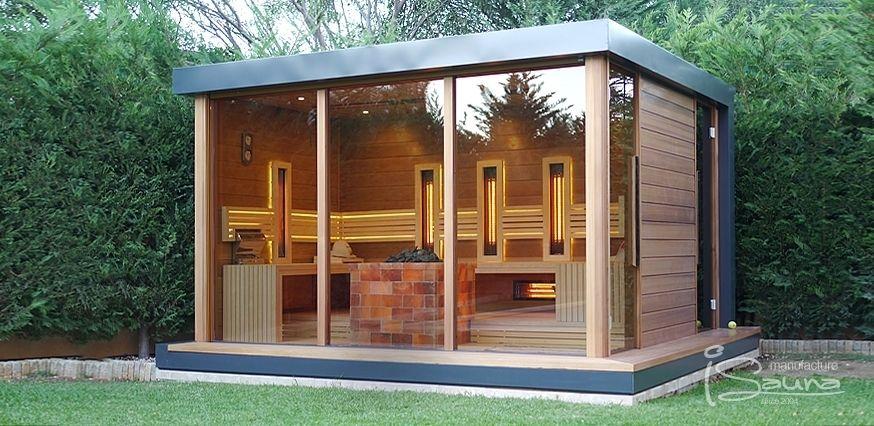 outdoor sauna house with shower sauna pinterest aussensauna gartendusche und bergh tte. Black Bedroom Furniture Sets. Home Design Ideas