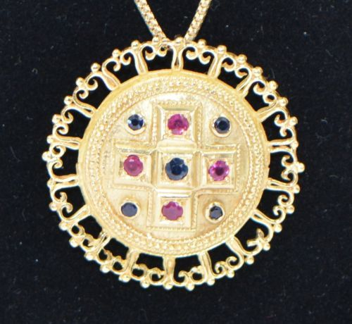 NICE-18K-YELLOW-GOLD-CROSS-SAPPHIRE-SUN-RUBY-PENDANT-BROOCH-NECKLACE-MILOR-CHAIN