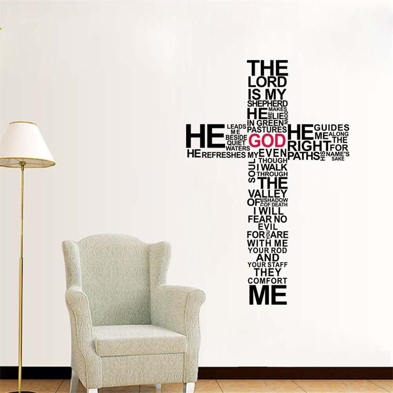 Removable Wall Art new cross christian removable wall stickers /jesus christ pray