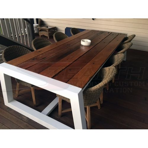 Powder Coated Aluminium Table Frame With Timber Top Installed