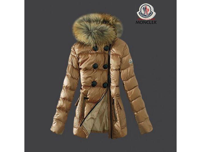 2014 Moncler Down Jackets Womens Zip Fur Collar Light Tan On Sale Shopping  Safe Shipping,Moncler Women,Moncler Jackets Women
