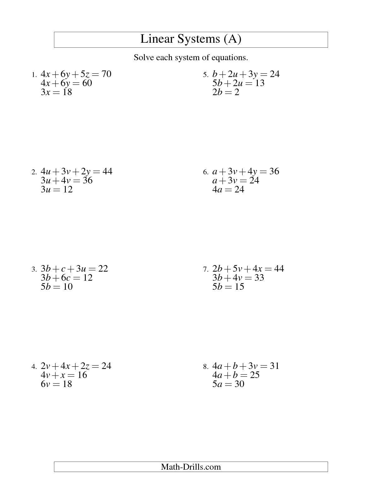 Solving Equations And Inequalities Worksheet Solving Systems Linear Equations A Writing Linear Equations Graphing Linear Inequalities Graphing Linear Equations