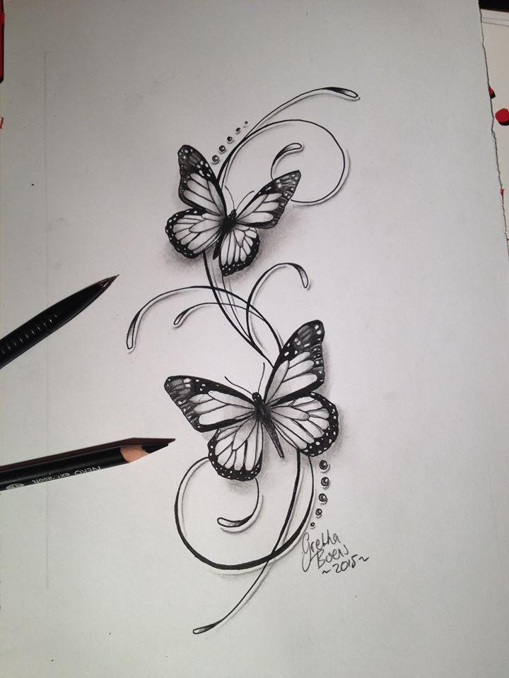 Photo of Butterflies filigree tattoo design