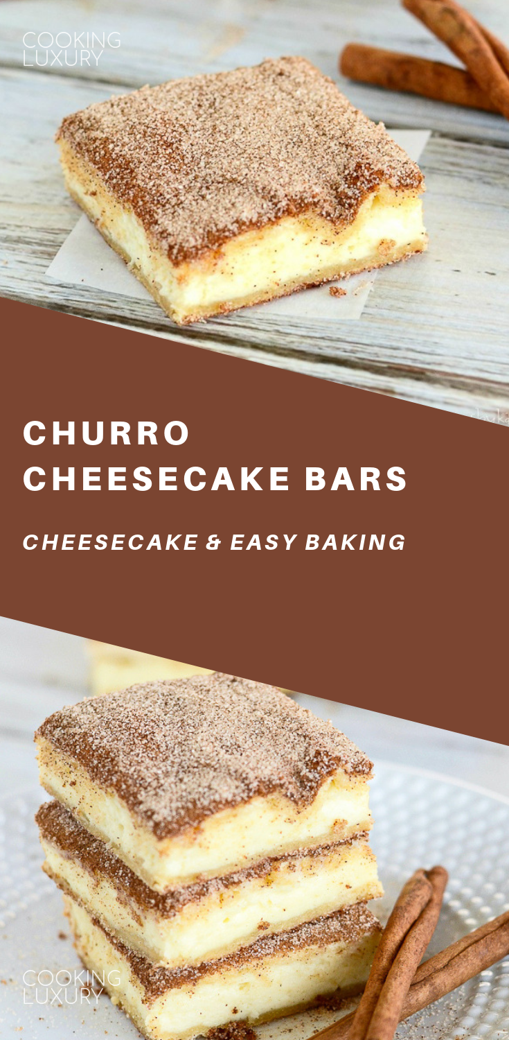 Churro Cheesecake Bars #churrocheesecake The crunchy cinnamony goodness of a churro filled with a tangy cream cheese filling. The best of two desserts rolled into one! #food #recipes #easyrecipe #cheesecake #cake #cakerecipes #baking #desserts #dessertfoodrecipes #dessertrecipes #frosting #sweets #glutenfree #glutenfreerecipes #churrocheesecake