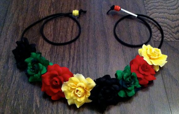 Rasta Flower Headband Flower Crown Flower Halo by BrittsBlossoms ... 264a260e4c2