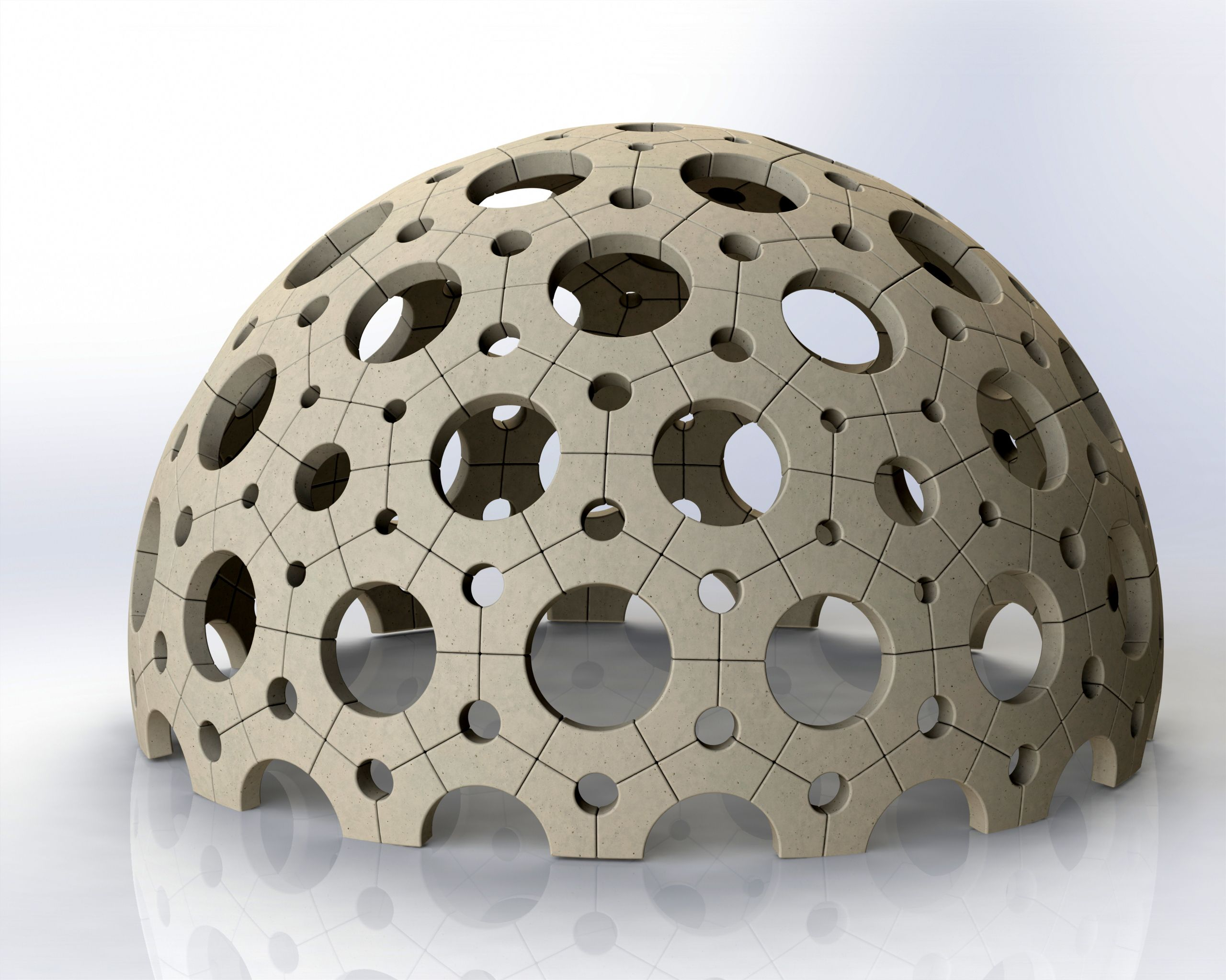 concrete dome constructed of 4 brick types