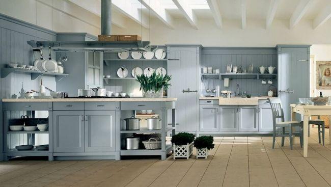 Wohnideen Country wohnideen für die küche landhaus stil hellblau weiße decke ház