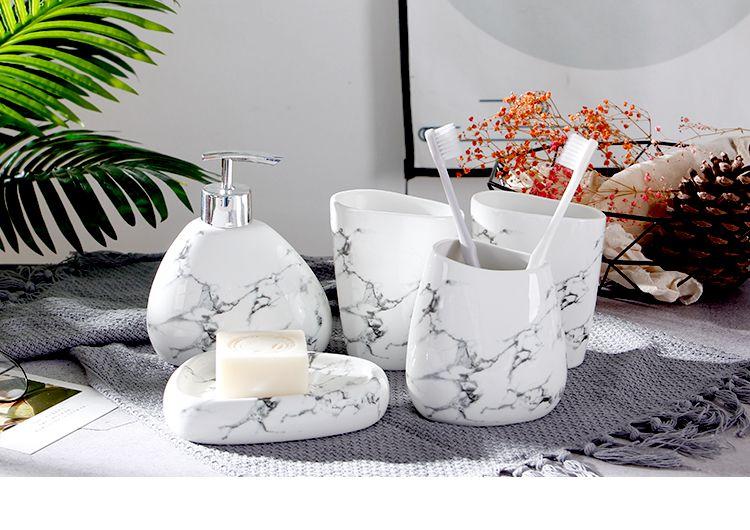 Bathroom Accessories Set 6pcs//Set Imitation Marble Ceramics Bathroom Accessories Set
