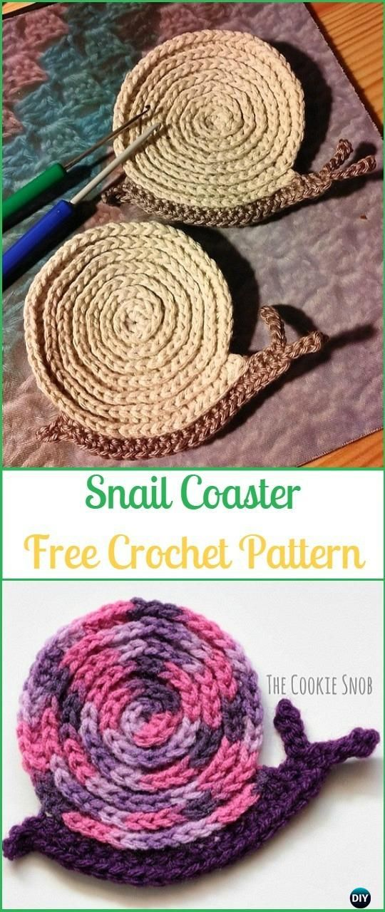 Crochet Snail Coaster Free Pattern - - #Crochet Coasters Free ...