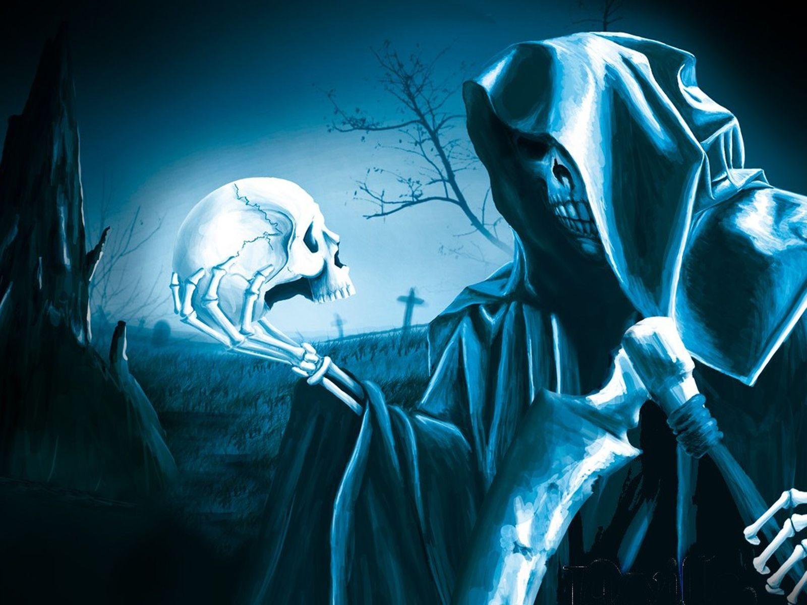 Cool Skulls On Blue Fire Background