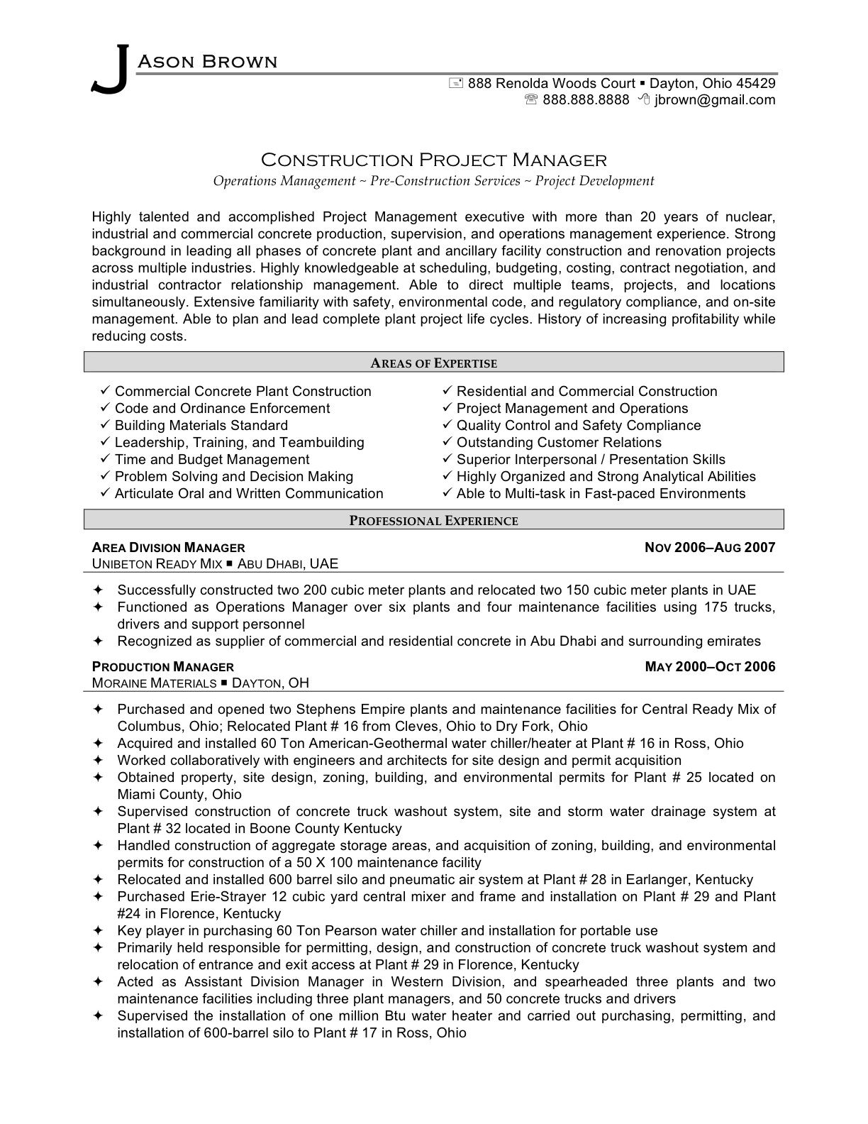 Resume Templates Project Manager Residential Or Commercial