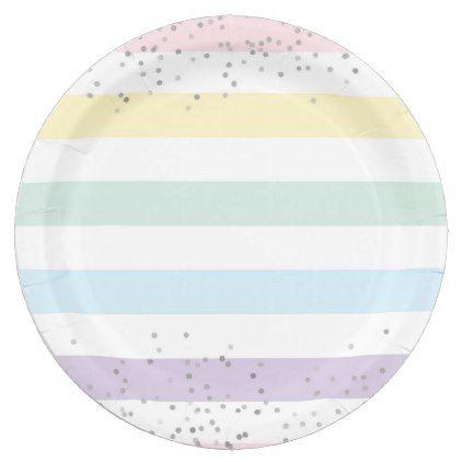 Faux Silver Foil Confetti u0026 Pastel Rainbow Stripes Paper Plate - kids kid child gift idea diy personalize design  sc 1 st  Pinterest & Faux Silver Foil Confetti u0026 Pastel Rainbow Stripes Paper Plate ...