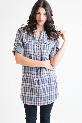 Two-Step And Sophisticated Plaid Tunic – Single Thread Boutique, $46.00 #plaid #tunic #alloccasions #buttons #bandedneckline #widecuffs #denimblue #red #white #pockets #linenfabric #singlethreadbtq #shopstb #boutique