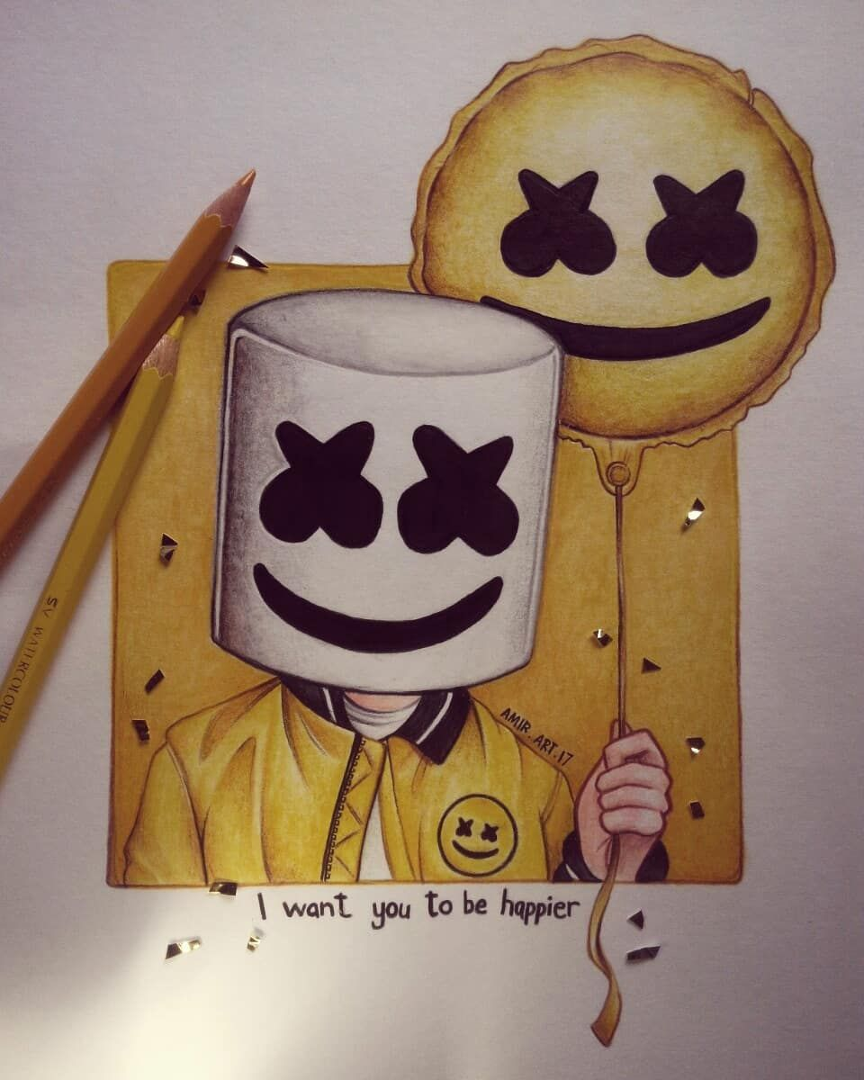 I want you to be HAPPIER!!  @marshmellomusic  . First drawing of Mello! Hope you guys like it!  . GUYS THANK YOU SO MUCH!!! For 5k!!!! . #marshmello #mello #happier #fanart