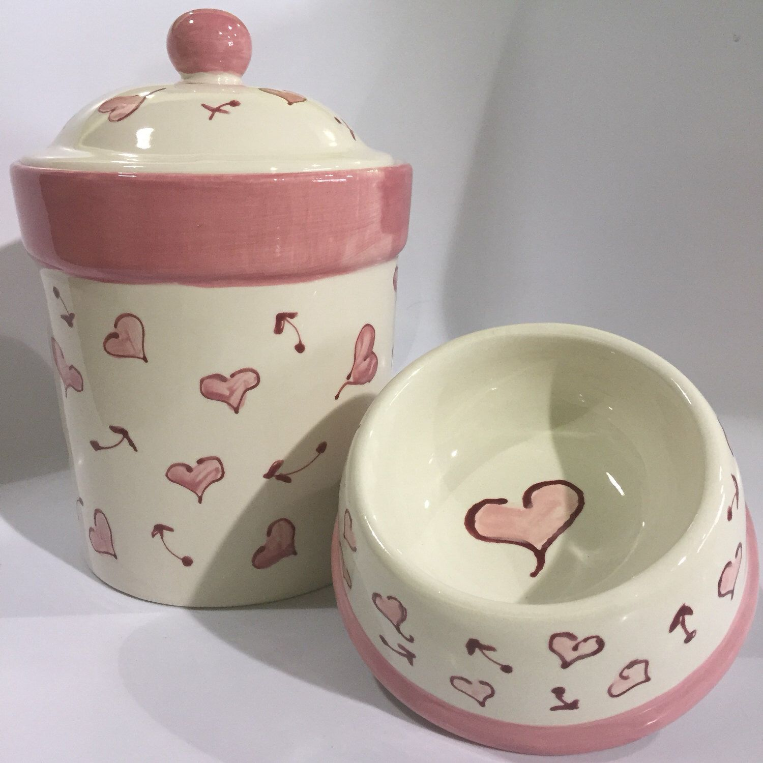 Pink Hearts Small Dog Bowl Copyright Design Etsy Dog Bowls Pet Bowls Pink Heart