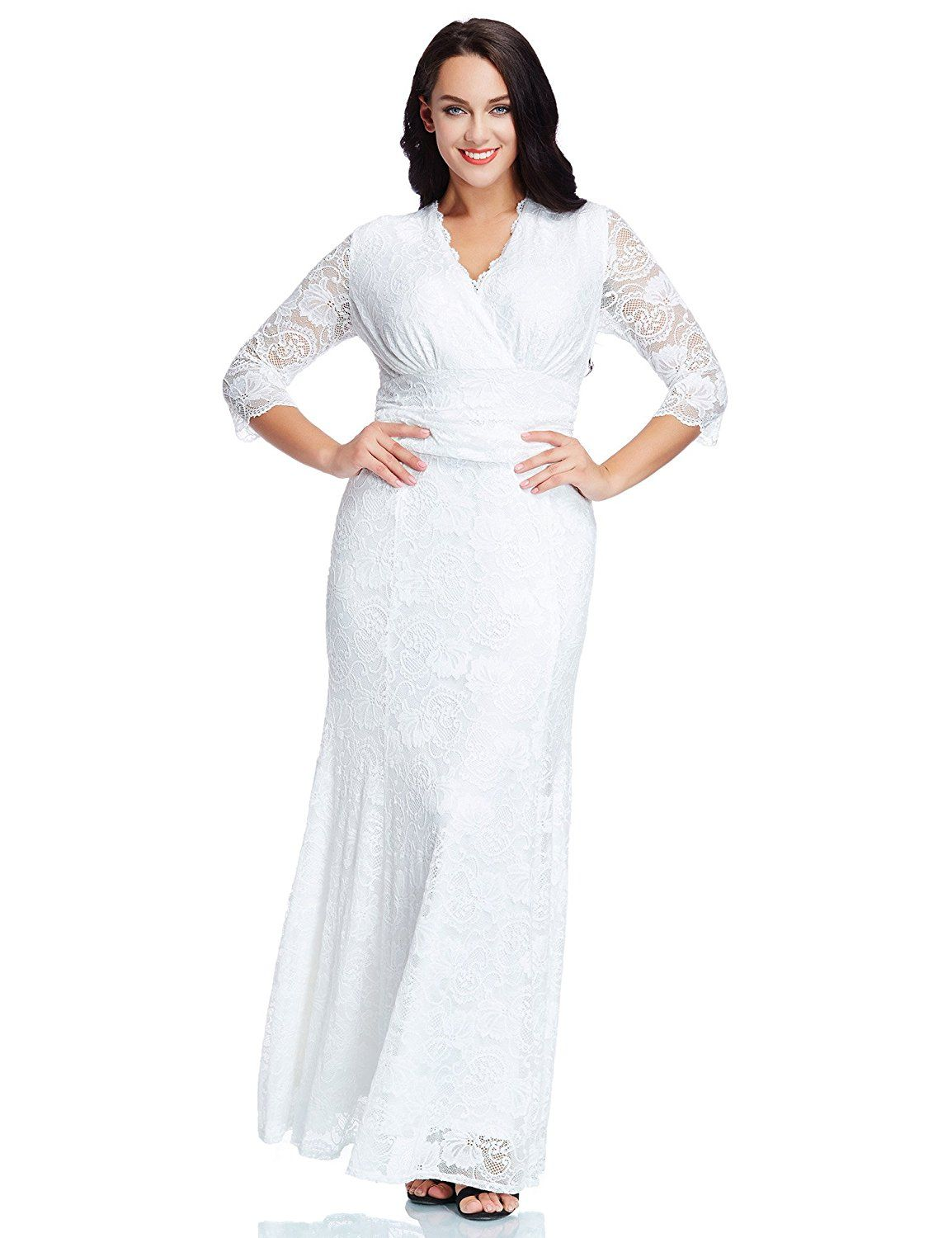 LookbookStore Women s Plus Size White Floral Lace 3 4 Sleeve Wedding Maxi  Dress    Unbelievable item right here!   Women clothing 9b98537be