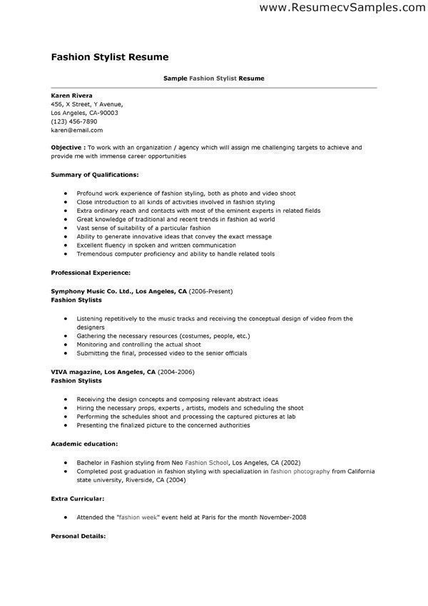 Sample resume for fashion stylist