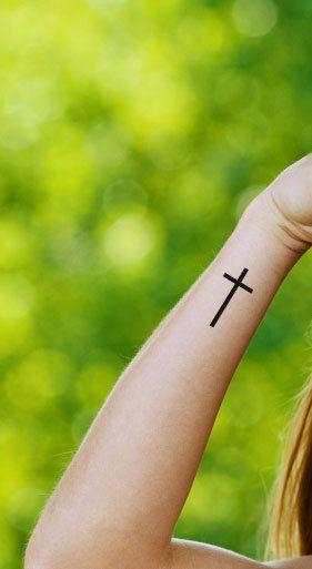 Set Of 3 Cross Tattoo Temporary Tattoo Somaarttattoo Temporary