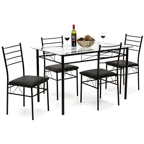 Best Choice Products Home 5piece Dining Table Set W Glass Table Top 4 Chairs Black Details Ca Cheap Dining Room Chairs Dining Room Sets Dining Table Setting