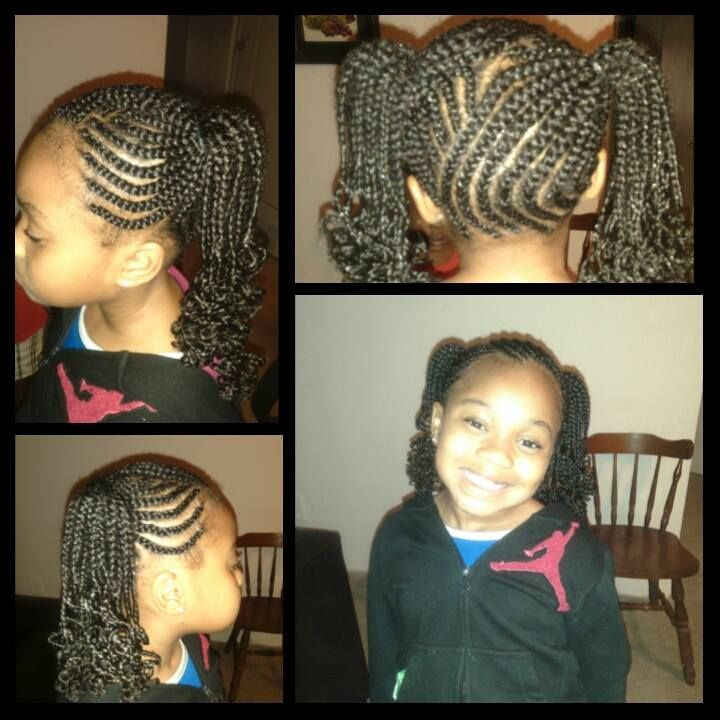 Cornrows Braids With Heart Natural Hairstyle For Little
