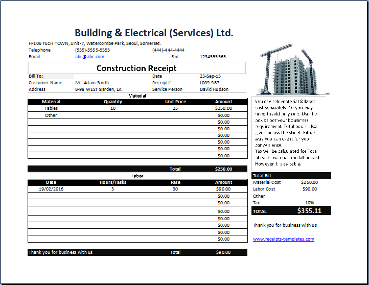 Construction Receipt Template Free – Free Construction Contracts Templates