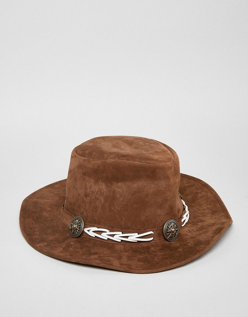 Fedora Hat With Western Details In Faux Leather - Brown Sacred Hawk CdliY