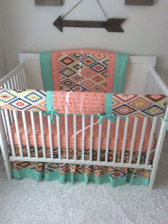 Baby Girl Crib Bedding Peach Mint, Girl Aztec Nursery Bedding