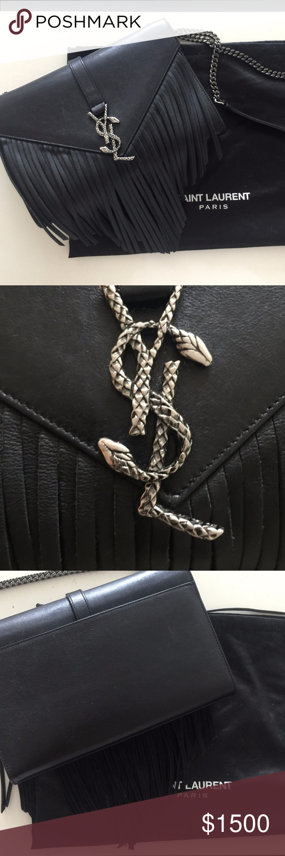 21c2ae20bbf6 Saint Laurent Black Leather Snake logo Fringed Bag Gentle used limited  edition YSL calfskin leather snake logo fringed bag. Comes with all tags