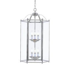Sea Gull Lighting Bretton 16-In Brushed Nickel Single Clear Glass Lantern Pendant 5233-962