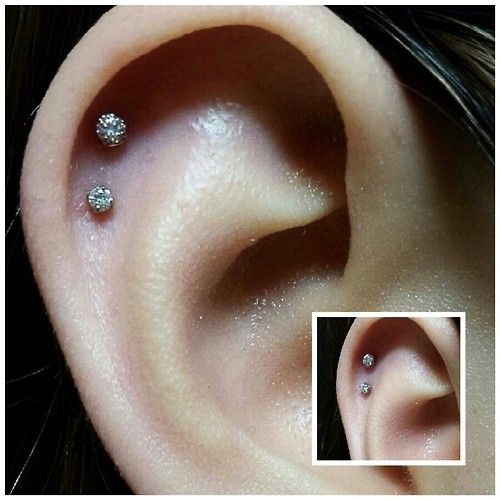 Double Ear Cartilage Piercing By Kenny Crespo At New Flower Studio In Long Beach Ca Helix Piercing Stud Double Helix Piercing Helix Piercing