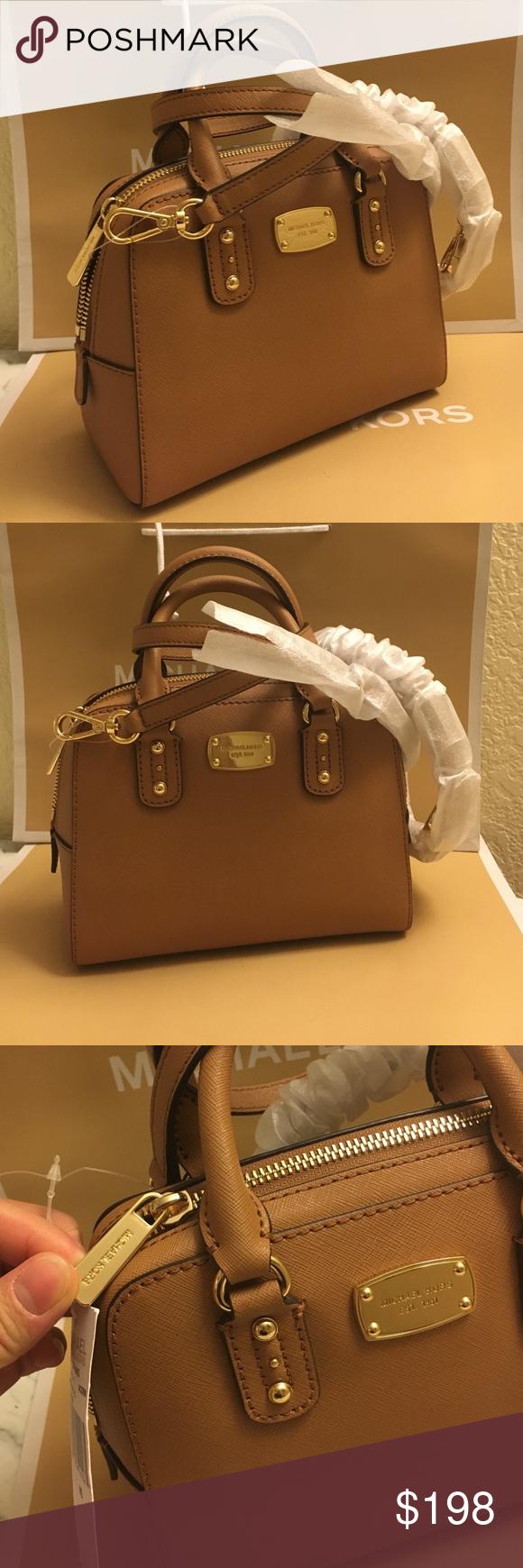 MK satchel leather Color Acorn, Saffiano Authenic brand