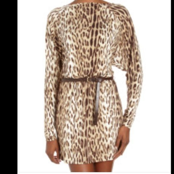 6f2d5d0b9fda NWT MICHAEL Michael Kors Leopard-Print Dress NWT! MICHAEL Michael Kors  Brown Belted Dolman