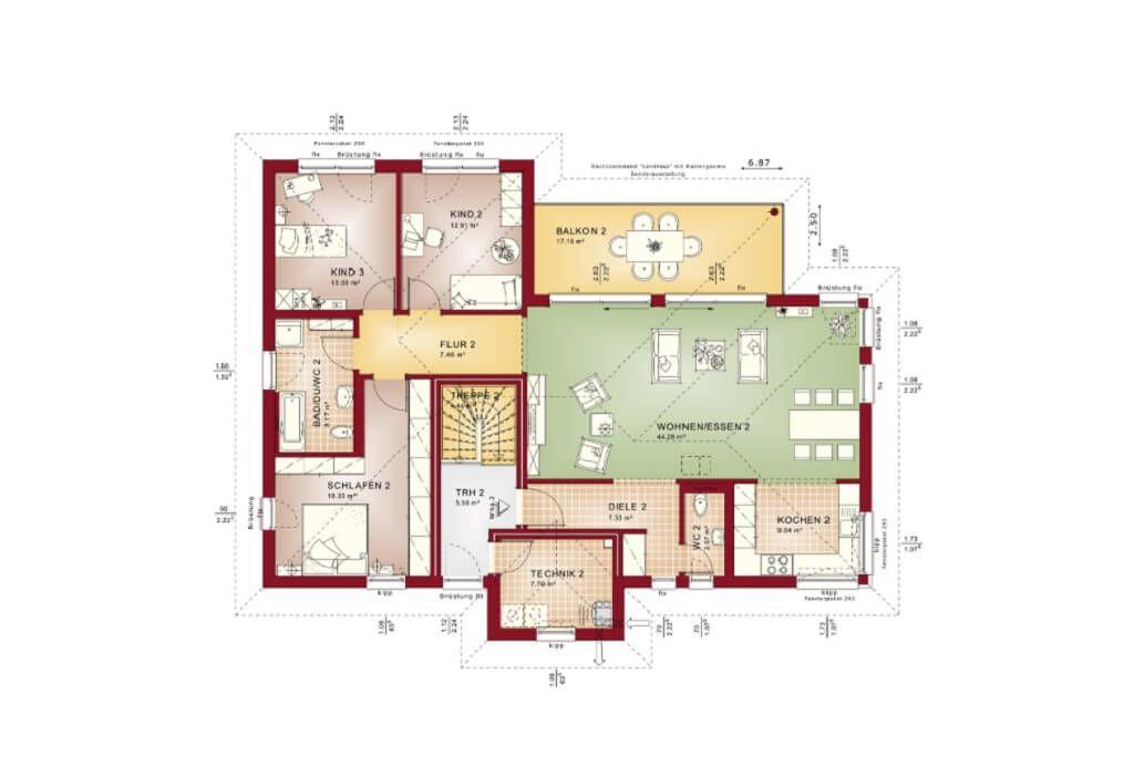 Zweifamilienhaus Grundriss Obergeschoss mit Walmdach - Haus - grundriss küche mit kochinsel