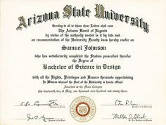 free printable college degree templates asu pinterest college