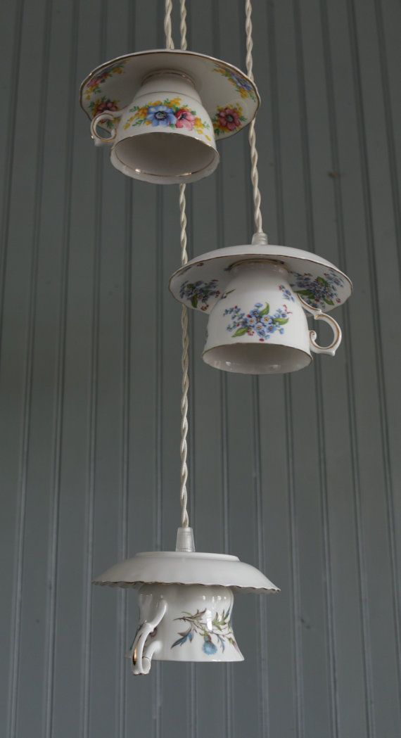 3 cluster teacup pendant lights by forgottenchina on etsy lamps