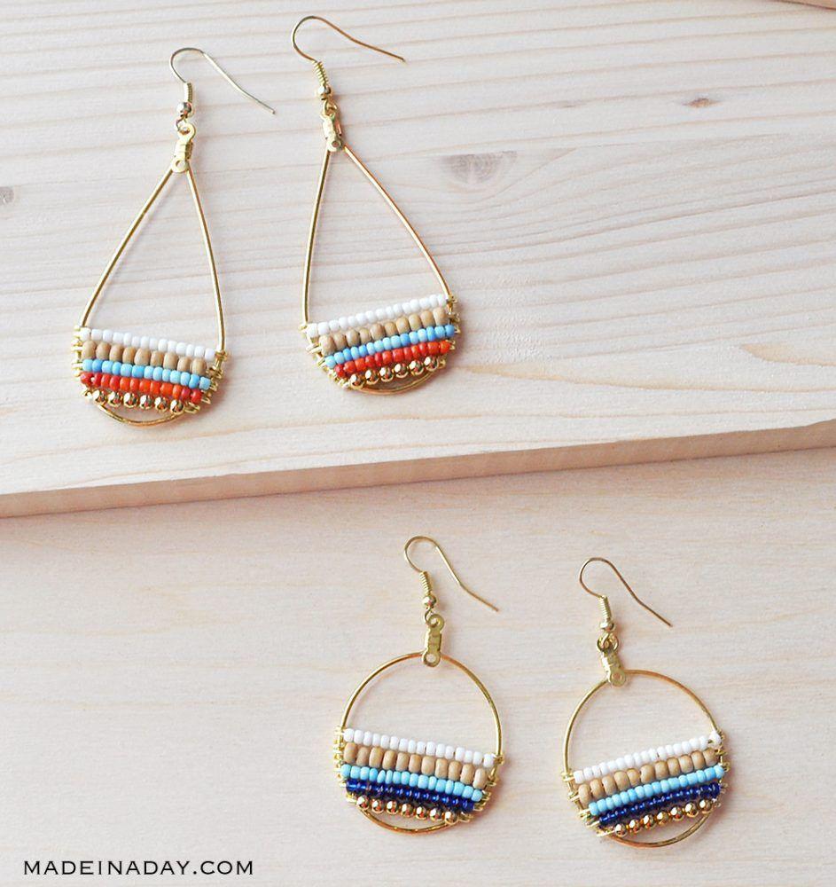 How to make beachy boho beaded hoop earrings with images