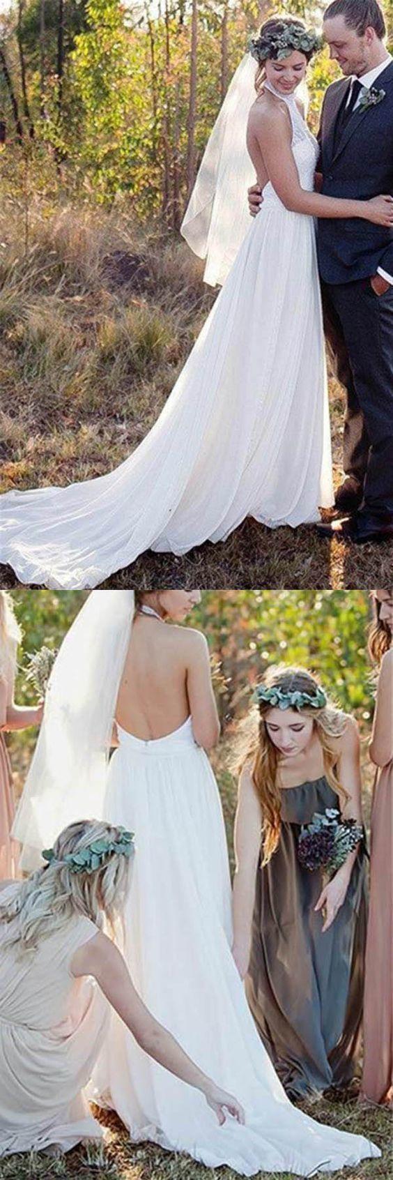 Backless halter lace aline high neck chiffon wedding dress