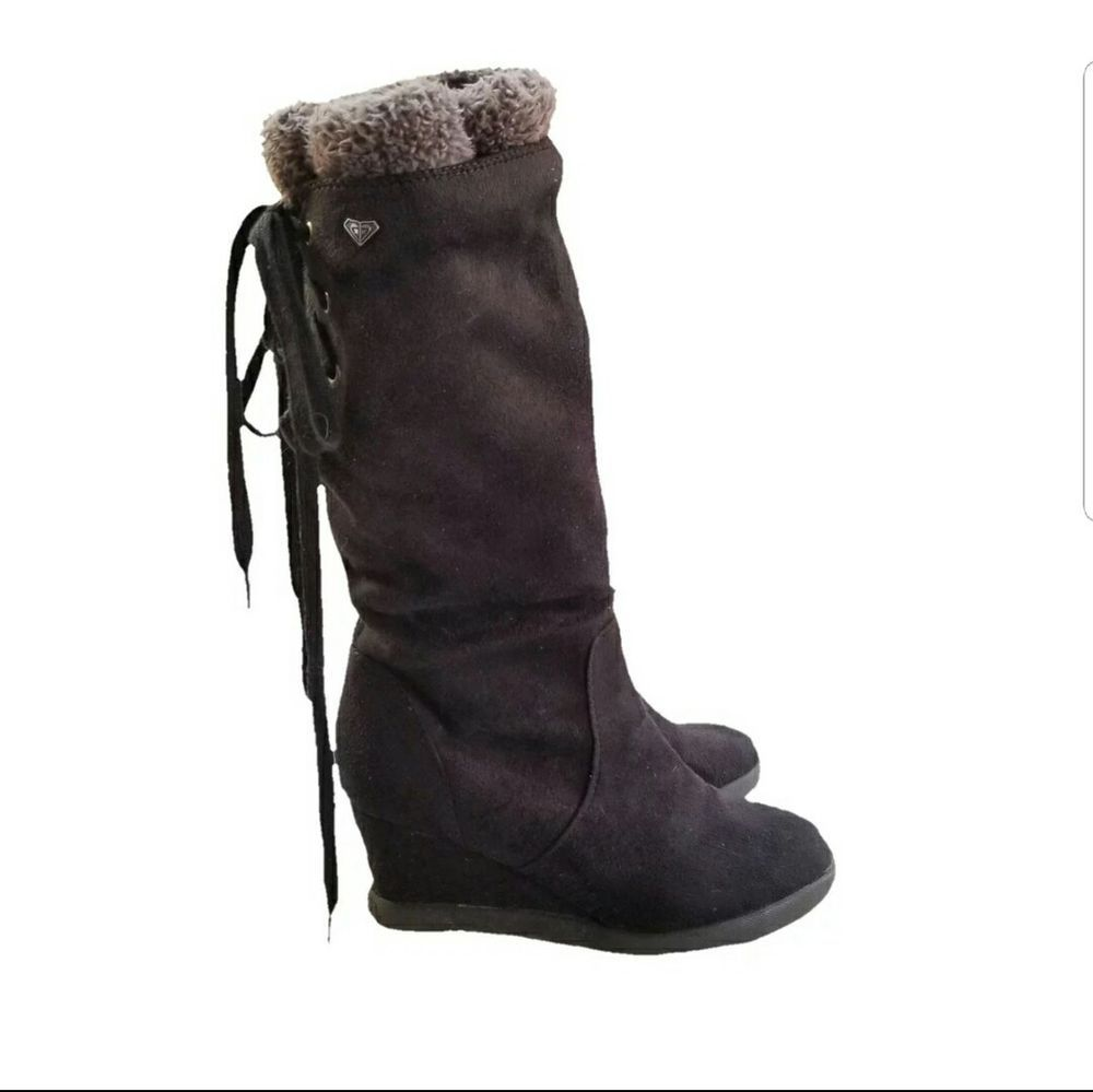 99a6b0c148288 Roxy Suede Leather Boots Size 8 Womens Tall Lace Up Wedge  ROXY   MidCalfBoots