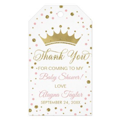 Princess Thank You Tag Pink Faux Glitter Crown Gift Tags