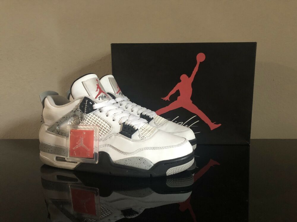 2016 Nike Air Jordan 4 White Cement Size 10- With Box And Hang Tag ...