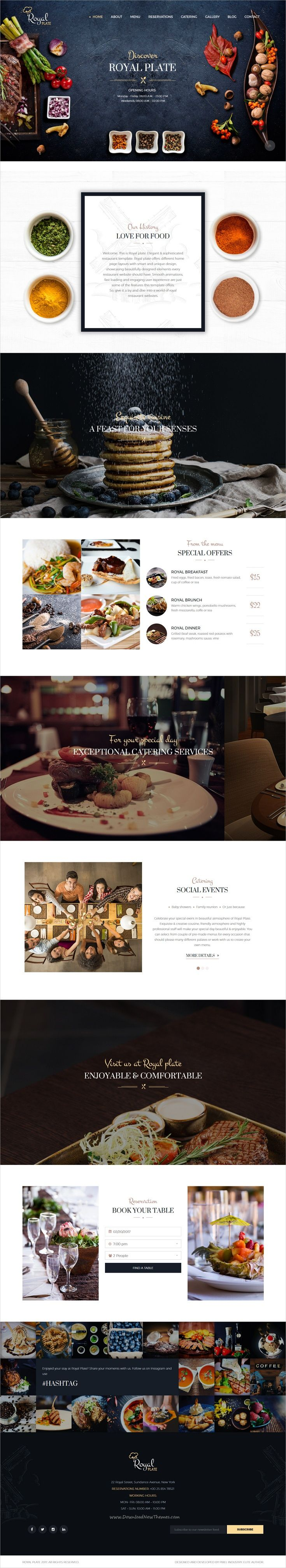 Royal Plate is a responsive #WordPress theme created for #restaurants and #catering companies websites download now➩